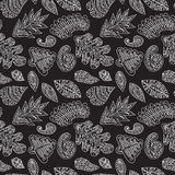Abstract black and white pattern with hand drawn leafs elem Royalty Free Stock Photo