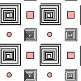 Abstract black white pink seamless pattern background illustration with spiral square and geometric shape Stock Images