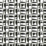 Abstract black and white plastic pattern.  Metallic silver 3D surface. Checked relief.  Texture background. Seamless illustration. Stock Images