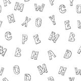 Abstract black and white seamless alphabet background vector illustration Royalty Free Stock Images