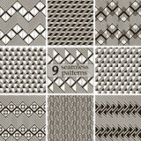 Abstract black and white seamless patterns in modern style Royalty Free Stock Photos