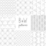 Abstract black and white simple geometric seamless patterns set, vector Stock Images