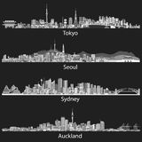Abstract black and white skylines of Tokyo, Seoul, Sydney and Auckland. Stock Photo