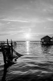 Abstract black and white of Songkhla lake in Thailand.  stock photo