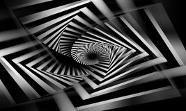 Abstract black and white spirals pattern. Cg optical illusion, 3d illustration Stock Photo