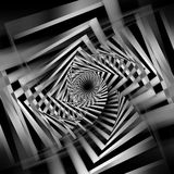Abstract black and white square spirals. Abstract black and white spirals pattern, cg optical illusion, square 3d illustration Royalty Free Stock Image