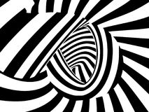 Abstract black and white striped optical illusion three dimensio Stock Photos