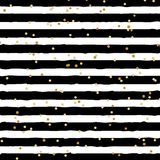 Abstract black and white striped on trendy background with random gold foil dots pattern. You can use for greeting card or royalty free illustration