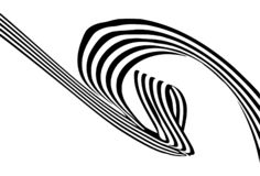 Abstract black and white stripes smoothly bent ribbon geometrical shape royalty free stock image