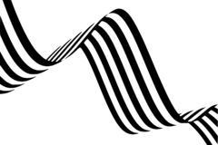 Abstract black and white stripes smoothly bent ribbon geometrical shape stock images