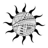 Abstract black white sun pattern illustration Royalty Free Stock Photos
