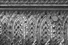 Abstract black and white Thai art decoration inside the temple. Abstract black and white historical Thai art decoration by mirror decorating inside the temple Royalty Free Stock Photography