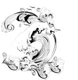 Abstract black and white waves Stock Photos