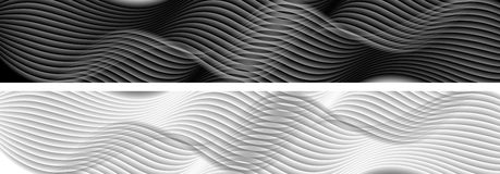 Abstract black and white wavy banners. Abstract black and white wavy lines banners. Vector graphic headers design Stock Photography
