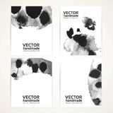 Abstract black and white wet ink texture banners 2 Royalty Free Stock Image