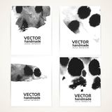 Abstract black and white wet ink texture  banners Stock Photo