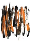 Abstract acrylic painting. Abstract black and yellow acrylic brush strokes on white background stock illustration