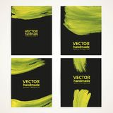 Abstract black and yellow brush texture banner set  Stock Image