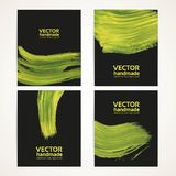 Abstract black and yellow brush texture banner set 2 Royalty Free Stock Photos