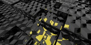 Abstract black and yellow glass background of 3d blocks Royalty Free Stock Photography