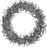 Abstract blank confetti wreath background from sprinkled circles. Vector design stock illustration
