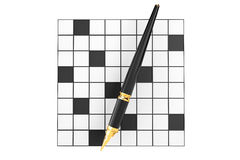 Abstract Blank Crossword with Fountain Writing Pen Royalty Free Stock Photo