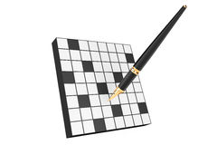 Abstract Blank Crossword with Fountain Writing Pen Royalty Free Stock Photography