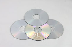 Abstract of 4 Blank Dvd`s or Cd Royalty Free Stock Images