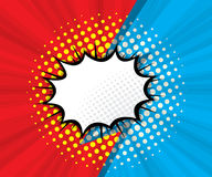 Abstract blank speech bubble with red and blue background. Pop art, comic book  illustration Stock Photos