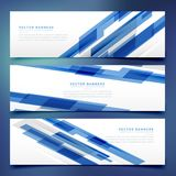 Abstract blauw banners en kopballenmalplaatje Royalty-vrije Stock Fotografie