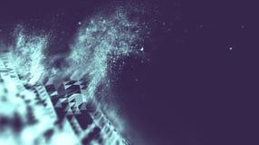 Abstract blauw 3d Verlicht vervormd Mesh Sphere Het teken van het neon Futuristische Technologie HUD Element Elegante samenvattin Stock Foto