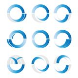 Abstract Blauw en Grey Circle Logo Elements royalty-vrije illustratie