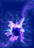 Abstract Blauw Gebied met Plasma en Symbolen Stock Afbeeldingen