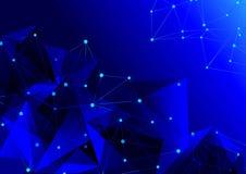Abstract blauw geometrisch rooster het werkingsgebied van molecules Stock Afbeelding