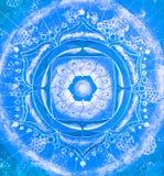 Abstract blauw geschilderd beeld met cirkelpatroon Stock Afbeeldingen