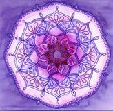 Abstract blauw geschilderd beeld met cirkelpatroon Kleurenzand ma royalty-vrije illustratie