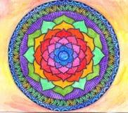 Abstract blauw geschilderd beeld met cirkelpatroon Kleurenzand ma Stock Afbeelding