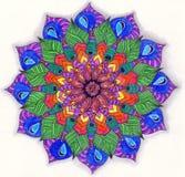 Abstract blauw geschilderd beeld met cirkelpatroon Kleurenzand ma Stock Afbeeldingen