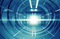 Abstract blauw het glanzen 3d tunnelbinnenland met lichten Stock Afbeeldingen