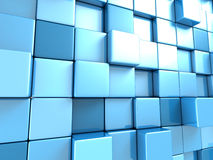Abstract blauw kubussenbehang als achtergrond Stock Foto's
