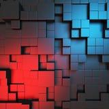 Abstract blauw kubussenbehang als achtergrond Royalty-vrije Stock Foto