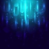Abstract blauw licht en bokeh gloeiende achtergrond Stock Foto