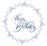 Abstract blauw rond kader en kalligrafische woorden Gelukkige Verjaardag Vector illustratie EPS10 vector illustratie