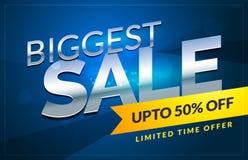 abstract blauw van de de bonaffiche van de verkoopkorting ontwerp als achtergrond tem Stock Fotografie