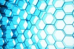 Abstract blauw van futuristisch oppervlakte hexagon patroon, hexagonale honingraat met lichte stralen, het 3D Teruggeven Royalty-vrije Stock Afbeeldingen