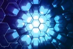Abstract blauw van futuristisch oppervlakte hexagon patroon, hexagonale honingraat met lichte stralen, het 3D Teruggeven Stock Fotografie