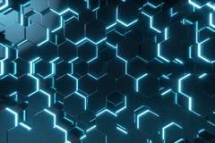 Abstract blauw van futuristisch oppervlakte hexagon patroon met lichte stralen, het 3D Teruggeven Royalty-vrije Stock Foto's