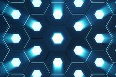 Abstract blauw van futuristisch oppervlakte hexagon patroon met lichte stralen, het 3D Teruggeven Stock Afbeelding