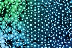 Abstract blauw van futuristisch oppervlakte hexagon patroon met lichte stralen, het 3D Teruggeven Royalty-vrije Stock Afbeeldingen