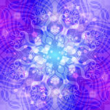 Abstract blauw-violet rond patroon met lichten Stock Foto